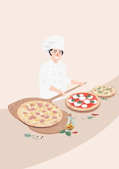 Vecteur, homme, cuisinier, et, italien, pizzas