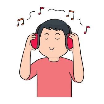 Vecteur de l'homme écoute de la musique