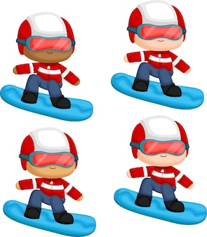 Un vecteur d'un homme faisant du snowboard avec plusieurs options de tons de peau