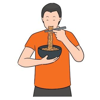 Vecteur de l'homme mange des nouilles
