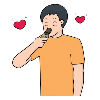 Vecteur de l'homme mangeant du chocolat