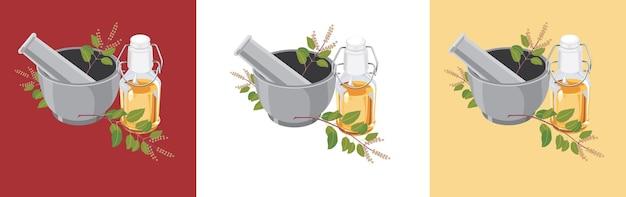 Vecteur d'huile ayurvédique tulsi avec mortier