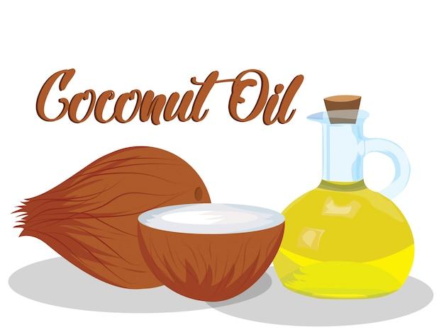 Vecteur d'huile de noix de coco sur fond blanc