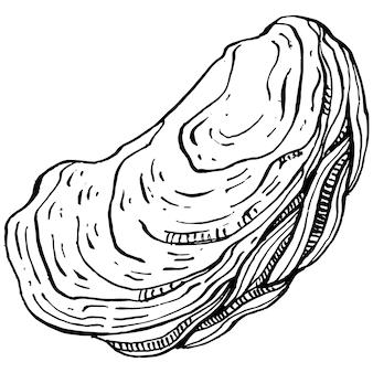 Vecteur d'huîtres avec illustration de style de gravure du logo ou de l'emblème pour le menu de conception de fruits de mer, déjeuner. steakhouse américain classique ou apéritif de bistro français.