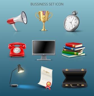 Vecteur, icône, affaires, ensemble, informatique, livres, mallette, téléphone, lampe, montre, trophée