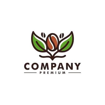Vecteur d'icône de conception de logo de feuille d'arbre de grain de café