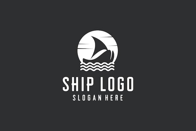 Vecteur d'icône de conception de logo de navire vintage
