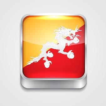 Vecteur icône du drapeau du style 3d de bhutan
