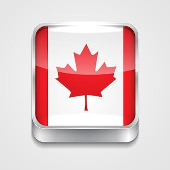 Vecteur icône du drapeau du style 3d du canada