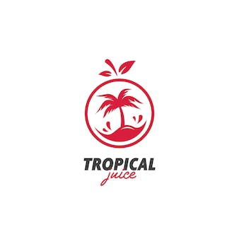 Vecteur d'icône de logo de jus d'île tropicale exotique frais