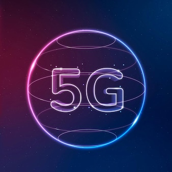 Vecteur d'icône de technologie de réseau 5g en néon sur fond dégradé