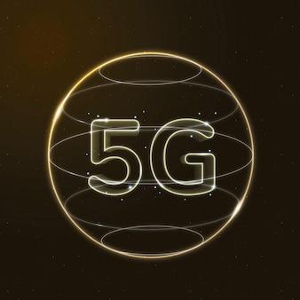 Vecteur d'icône de technologie de réseau 5g en or sur fond dégradé