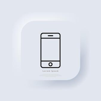 Vecteur d'icône de téléphone. symbole de ligne de smartphone. conception de signe ui de contour de téléphone plat à la mode. bouton web de l'interface utilisateur blanc neumorphic ui ux. neumorphisme. vecteur eps 10.