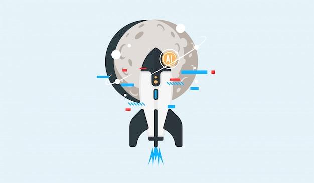 Vecteur d'icône de vaisseau spatial.
