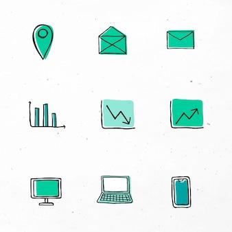Vecteur d'icônes d'affaires vertes avec jeu de conception d'art doodle