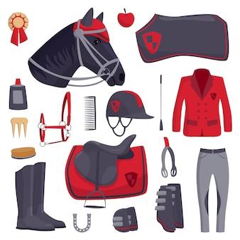Vecteur d'icônes de cheval jockey