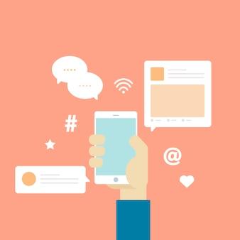 Vecteur d'icônes de communication de réseau social