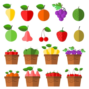 Vecteur d'icônes de fruits.