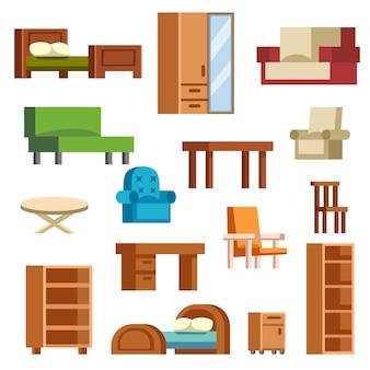 Vecteur d'icônes de meubles isolé