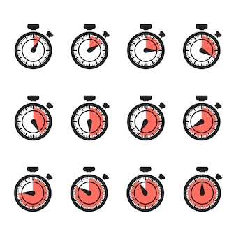 Vecteur d'icônes de minuterie. jeu de chronomètre isolé sur fond blanc