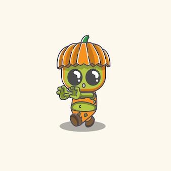 Vecteur d'illustrateur citrouille zombie mignon