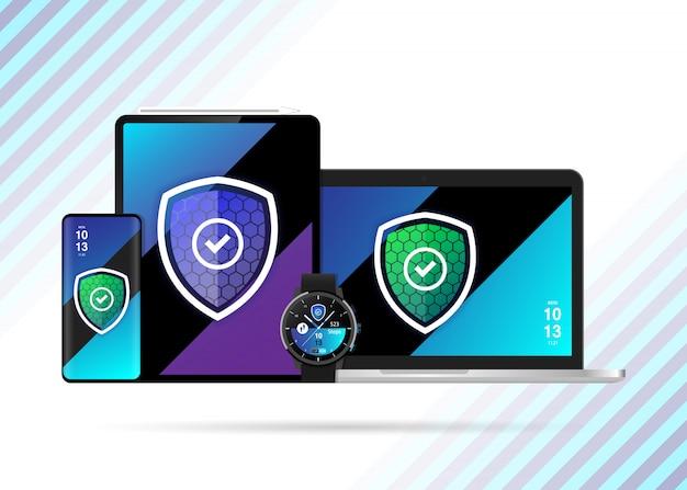Vecteur d'illustration de bouclier sécurisé pour appareils sécurisés