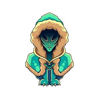Vecteur d'illustration chat alien character design