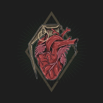 Vecteur d'illustration coeur amour grenade