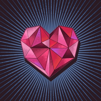 Vecteur d'illustration de concept de diamant d'amour