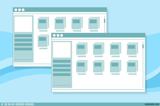 Un vecteur illustration de la conception d'illustration de fenêtre de cadres d'interface vectorielle