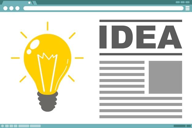 Un vecteur illustration de conception d'interface avec idée d'ampoule