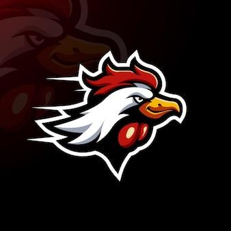 Vecteur d'illustration de conception de logo de mascotte de poulet rapide