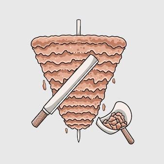 Vecteur d'illustration de conception de viande de kebab mignon dessiné à la main