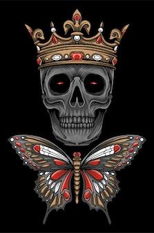 Vecteur d'illustration de crâne de papillon de roi