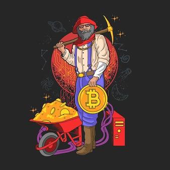 Vecteur d'illustration crypto minière moderne
