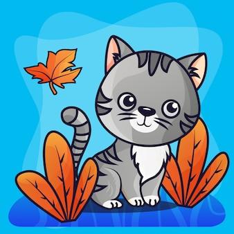 Vecteur d'illustration dégradé chat mignon
