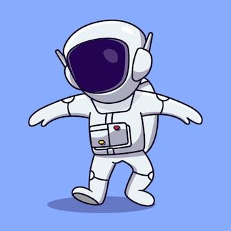Vecteur d'illustration de dessin animé astronaute mignon et amusant concept d'icône de technologie scientifique isolé style de dessin animé plat de vecteur premium