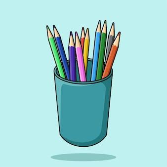 Vecteur d'illustration de dessin animé porte-crayon
