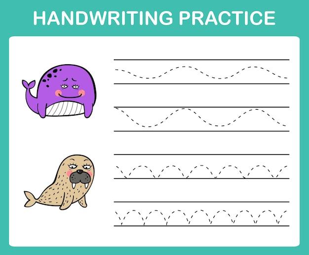 Vecteur d'illustration de feuille de pratique d'écriture manuscrite