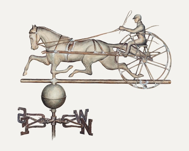 Vecteur d'illustration de girouette vintage, remixé à partir de l'œuvre d'art de samuel w. ford