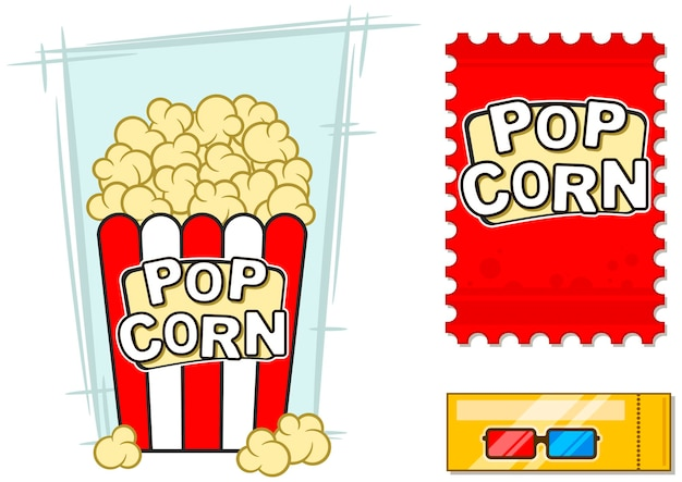 Un vecteur illustration d'icônes de cinéma set 3d lunettes stéréo pop-corn dans un seau à rayures
