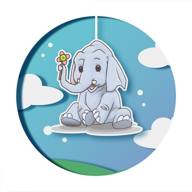 Vecteur d'illustration mignon éléphant