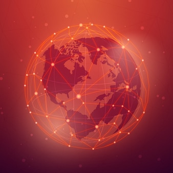Vecteur d'illustration mondiale connexion fond rouge