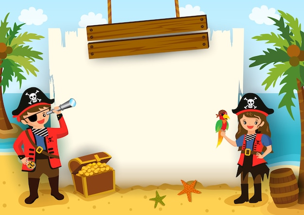Vecteur d'illustration de pirate garçon et fille avec cadre de carte sur fond de plage.