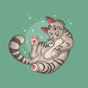 Vecteur d'illustration de style grunge adorable chat mignon paresseux