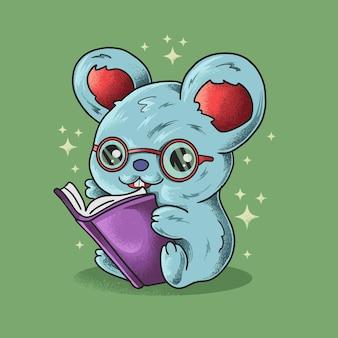 Vecteur d'illustration de style grunge petite souris intelligente