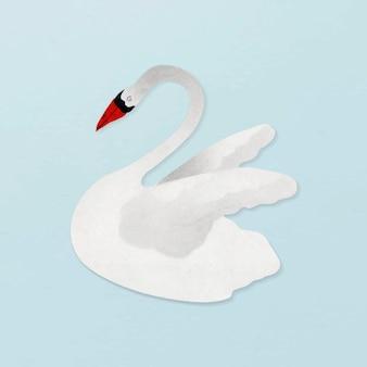 Vecteur d'illustration vintage cygne blanc
