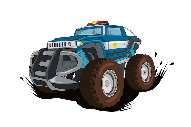 Le vecteur d'illustration de voiture monstre de police