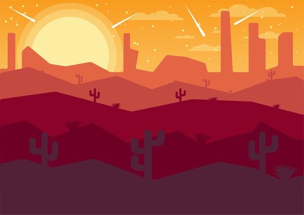 Vecteur illustrator paysage plat désert nuit avec des comètes