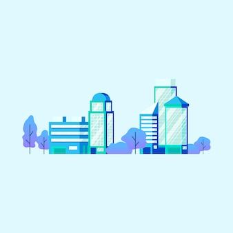 Vecteur d'immeubles de bureaux de haute technologie